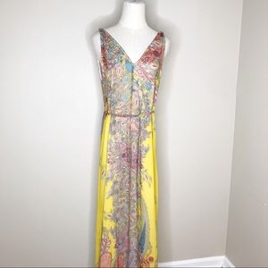 Zara Basics Yellow print dress size Small